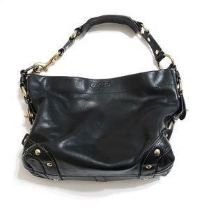 Coach leather Carly bag black and gold